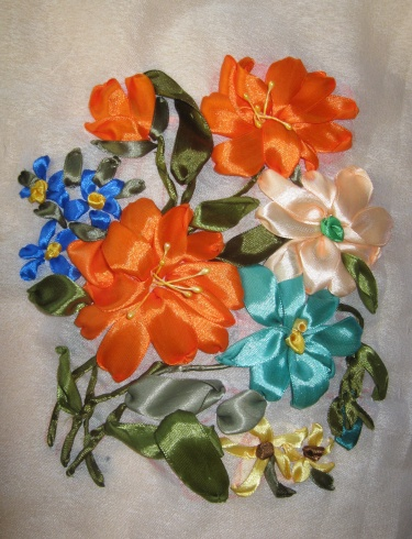 Unframed Bouquet Of Flowers A Pure Handmade Embroidered Silk Ribbon