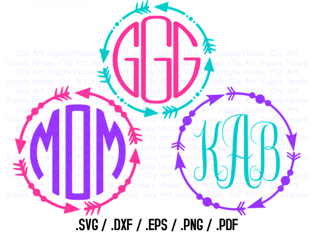 Tribal Arrow Circle Monogram Frame Design Files Use With Silhouette Software Dxf Files Svg Font Eps File Svg Font Silhouette Ca354 Meylah